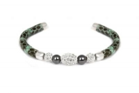 B6602 Dark green leather bracelet with white crystal and steel fitting.jpg