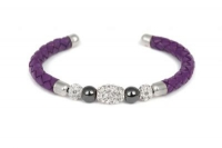B6602 Purple leather bracelet with white crystal and steel fitting.jpg
