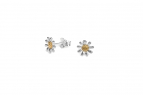 Sterling silver and gold plated 8mm flower stud earrings